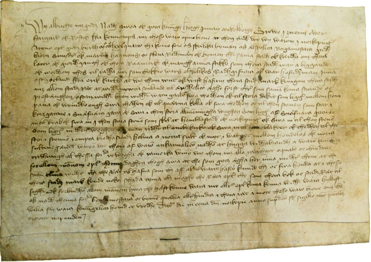 Norrköpings äldsta bevarade privilegiebrev, utfärdat av Albrekt av Mecklenburg den 7 april 1384. Foto: Norrköpings stadsarkiv.