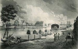 Hamnen med Saltängen i bakgrunden. Efter J. F. Martins kopparstick omkring år 1800. Foto ur Norrköpings stadsarkivs samlingar